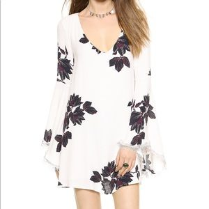 Free people winter white lace floral dress